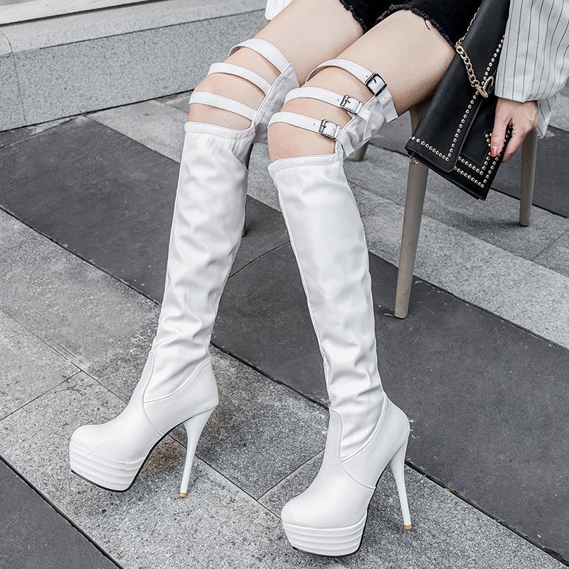 Concisa Ocio Otoño Invierno sobre la rodilla botas altas para las mujeres de la PU punta estrecha de alta largo de la vendimia botas finas zapatos de los tacones