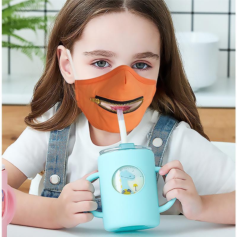 Enfants 2 en 1 Masque visage avec 10pcs de fermeture à glissière réglable Enfants Coton de protection anti-poussière lavable Masques Designer