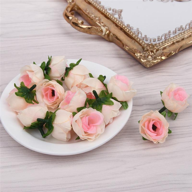 100pcs fresca e fiori artificiali piccolo germoglio del tè di simulazione piccola rosa tea accessori di seta fiore decorazione floreale testa DIY