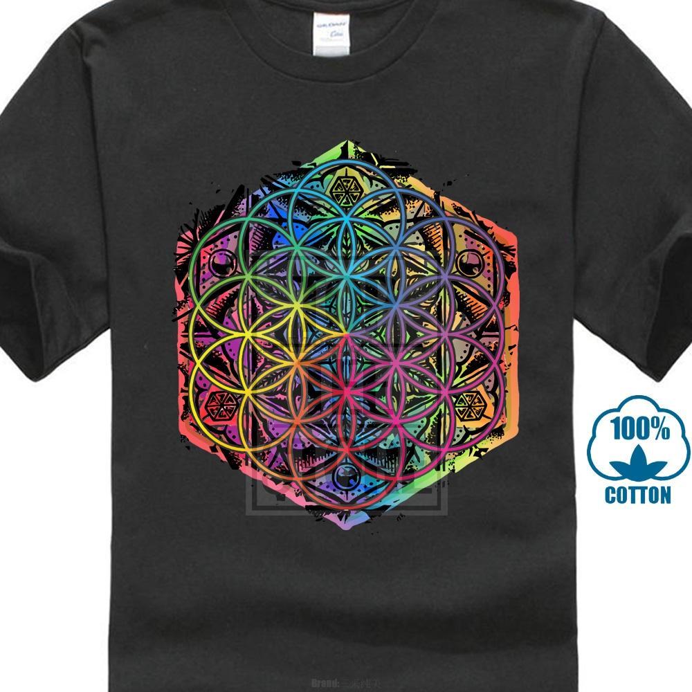 Neue kommende Heilige Geometrie Blume des Lebens Mandala Farbe Familie Männer schwarzes T-Shirt Kurzarm Einzigartige Spitzen T Shirts
