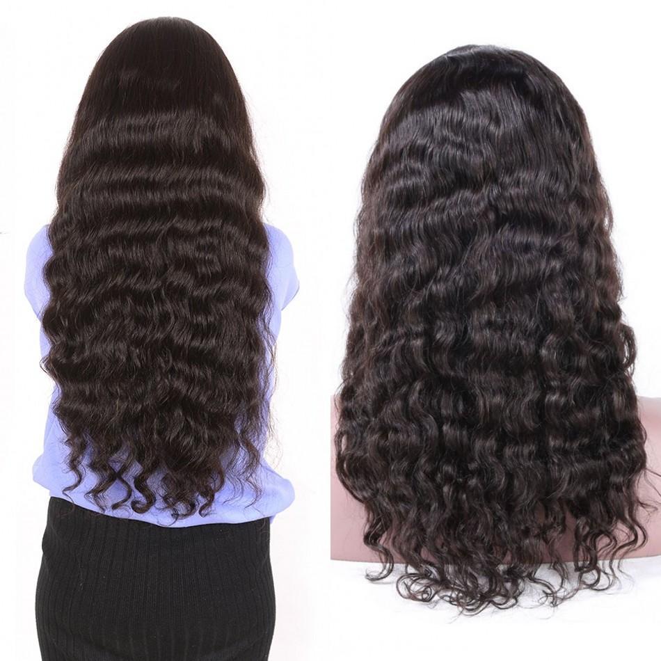 Loose Deep Wave Human Hair Wig Indian Hair Machine Made Wigs Glueless 130% Density Wig For Women