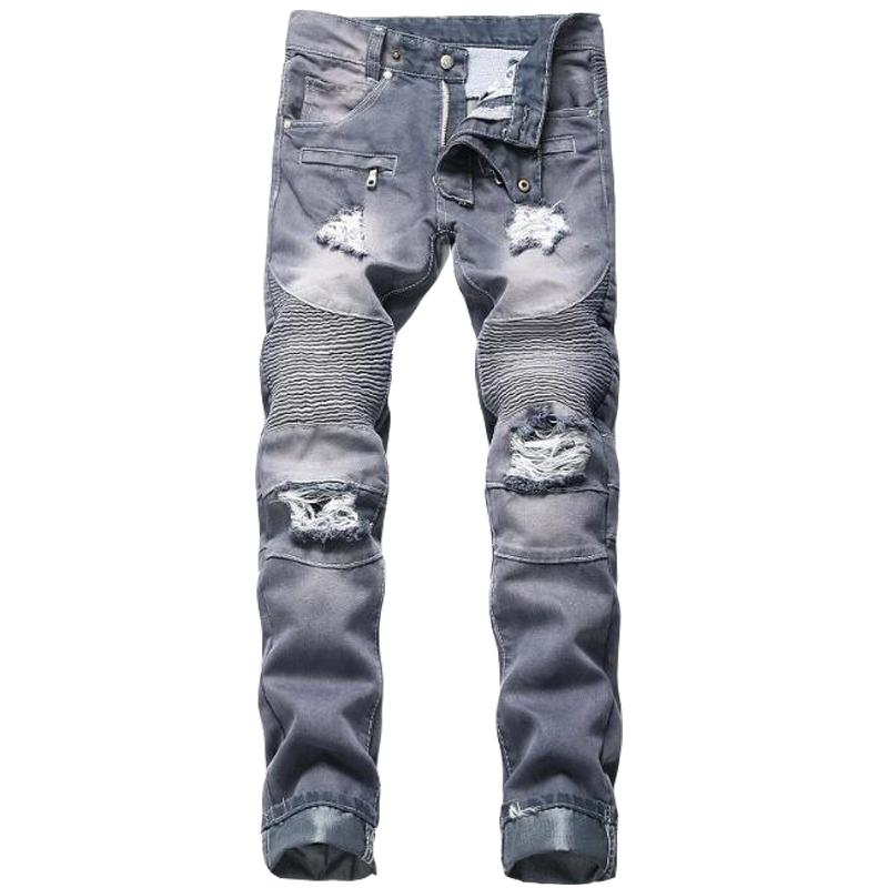siyah mavi İçin JEWUTO 2020 Erkekler kot Marka Yüksek kaliteli delik düz moto motorcu kot erkekler Kot Pantolon