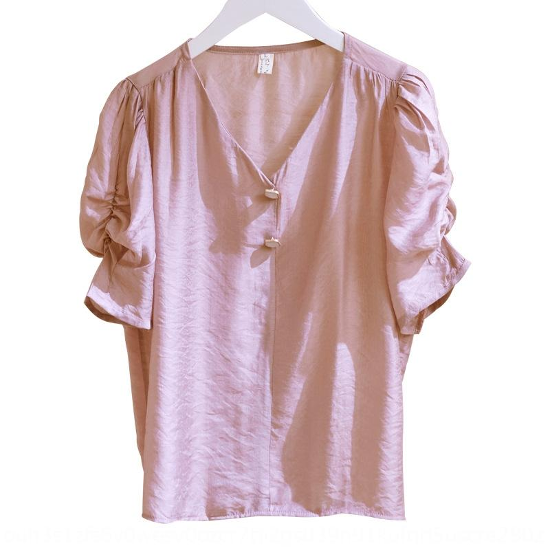 Шифон с короткими рукавами тонкий 2020 Летний новый корейский стиль V-образным вырезом свитер похудение пузырь рукав дизайн чувство пуловеры рубашка ЖЕНСКАЯ