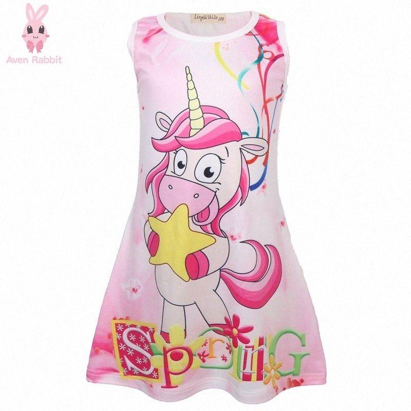Aven Летние платья Детская одежда девушки платье розовый Симпатичные девушки Одежда звезды Unicorn 4-9 лет Детские платья для девочек wcEu #