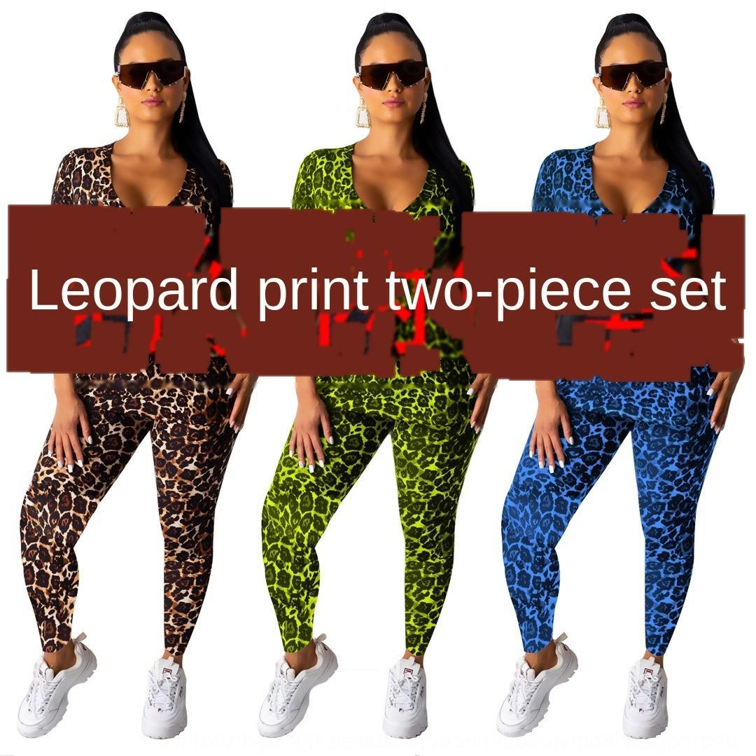 A8380 kadın moda rahat seksi leopar kısa kollu elbise Kadın moda iki parçalı iki parçalı set lotju yazdırmak