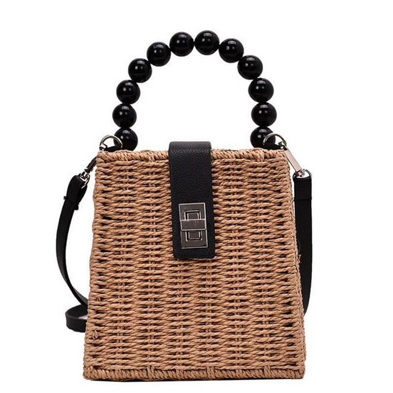 2020 mujeres del bolso de paja de la playa bolsas de hombro Mujeres Bolsa Feminina famosas marcas de Verano Nueva totalizadores de los bolsos que hacen punto floral