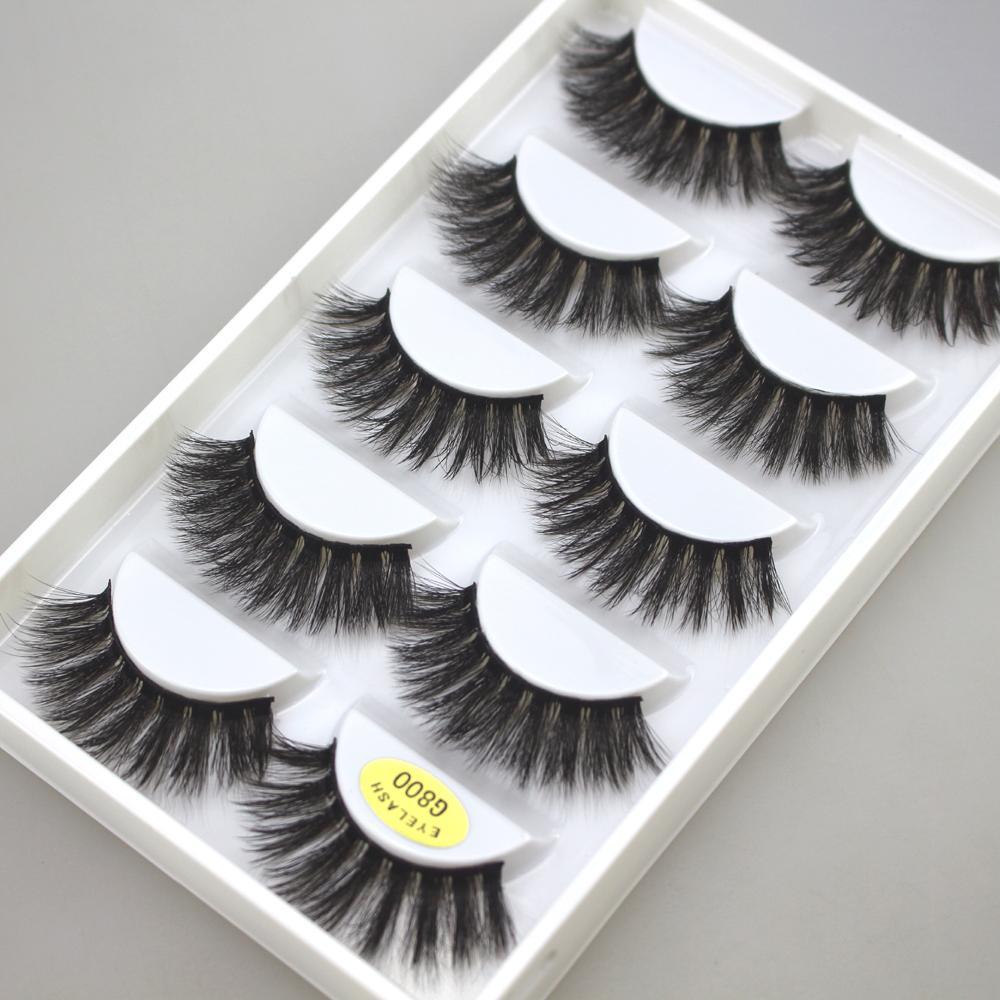 5 paia visone cigli 3D False Lashes alato Spesso MakeupEyeLash Dramatic Volume ciglia naturali morbida Falsa Eye Lashes G800