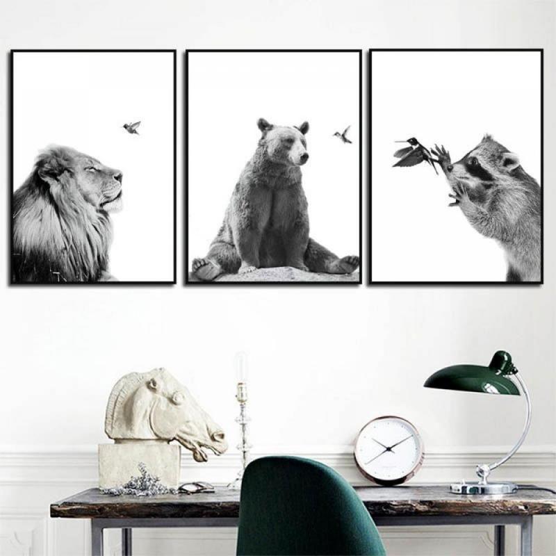 Compre Animal Blanco Negro Pintura Linda Del Oso De Koala De Los Ciervos Fox Bird Nórdicos Carteles Y Las Impresiones De Arte Cuadros De La Pared De La Lona Para La Sala