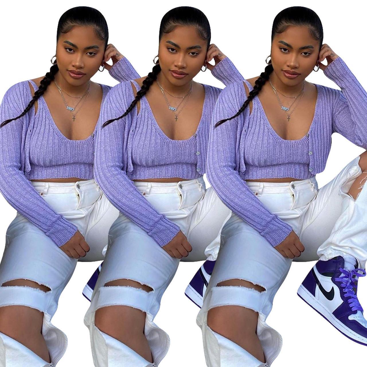2020 Mode Automne INS filles chandail et deux manches longues réservoir Pièces tricot Cardigan court femmes Outwear Ensemble manteau Casual