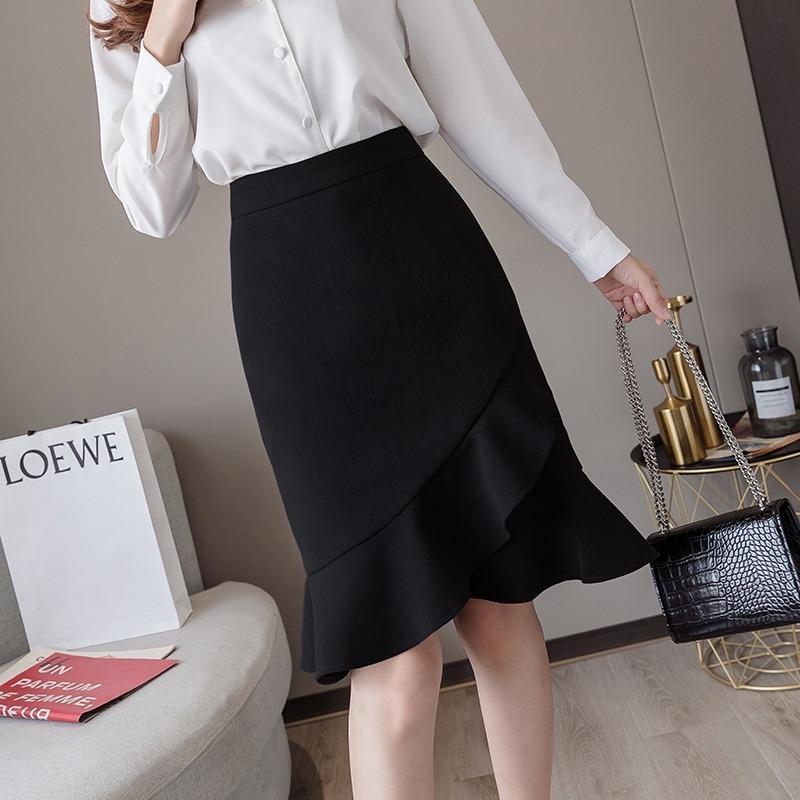 o6ZA1 tôt Xiaoyangjia femmes à la mode robe de robe de mode jupe Xiaoyang Jialu 2020 automne VVa58 irrégulière taille haute nouvelle fa queue de poisson