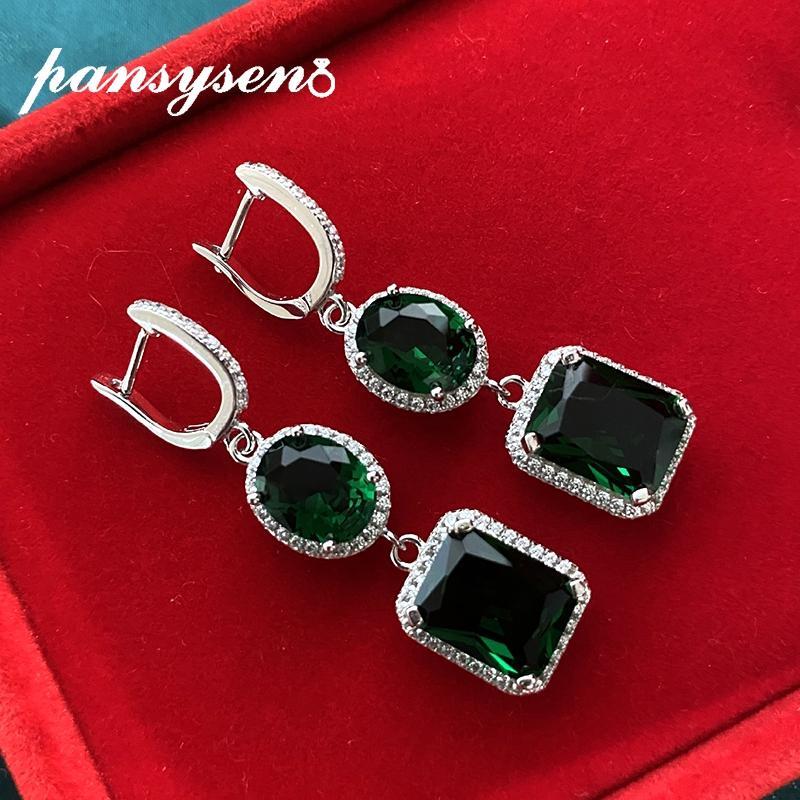 PANSYSEN Trend Smaragd Citrine Sapphire Ohrclips für Frauen-festes Silber 925 Sterling Hochzeit baumeln Mädchen Ohrring-Geschenk