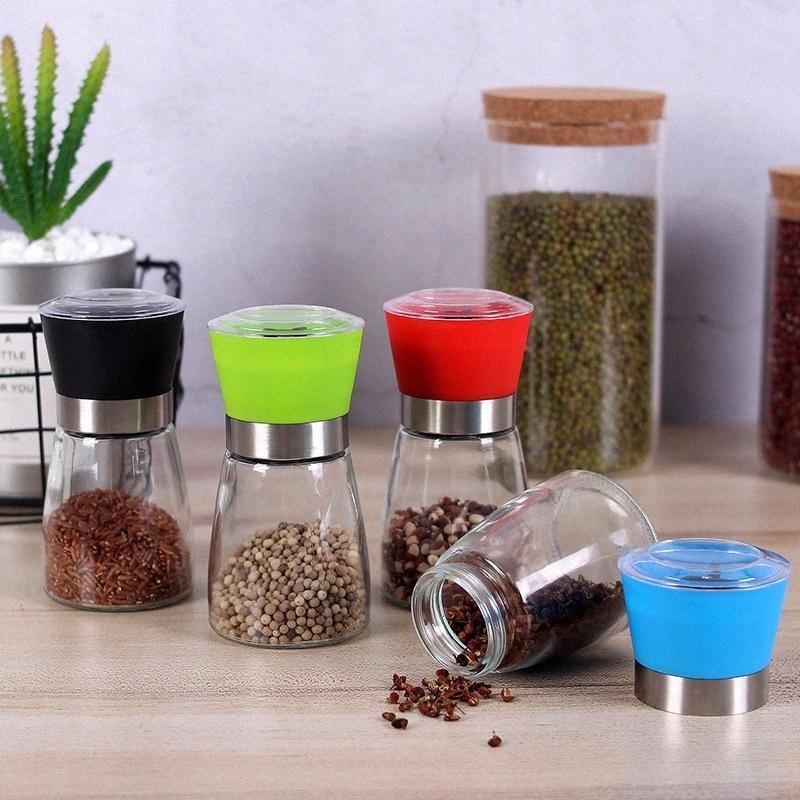 Salz Pfeffermühle Grinder Glas Pfeffermühle Shaker Salz Container Menage Jar Halter Keramikmahlwerk Flaschen Kitchen Tools DBC DH b7sx #