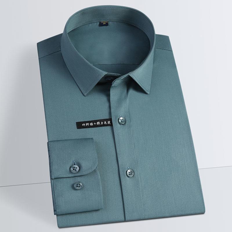 Confortable hommes - Soft lisse Bamboo-fibre chemises habillées de poche design moins à manches longues-forme standard classique et facile d'entretien shirt CX200824