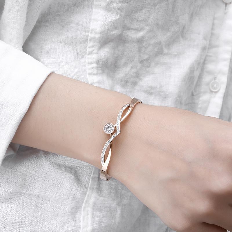Нержавеющая сталь 316L Классический Модные кристаллы Браслет Real розового золота браслеты для женщин Свадебные украшения
