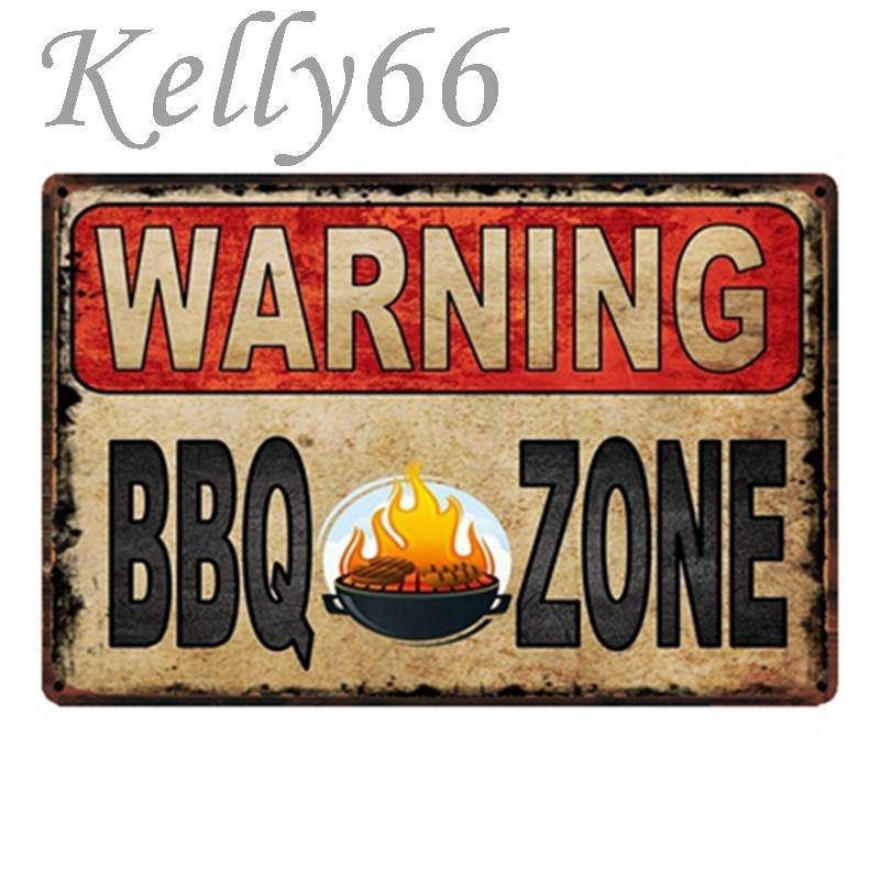[Kelly66] Sinal de Perigo Barbecue Party fresco Zona BBQ metal Tin Poster Home Decor Bar Wall Art pintura 20 * 30 CM Tamanho y-1765 C0926