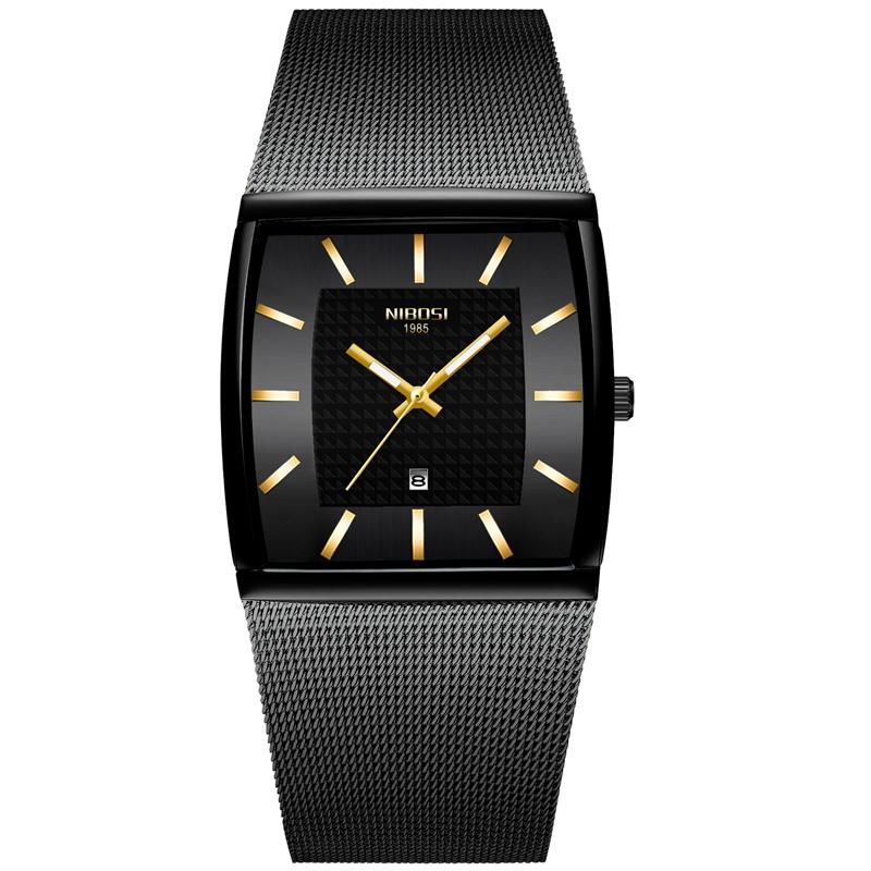 NIBOSI Mann-Uhr 2020 Rectangle Schwarz Gold Edelstahl Wasserdicht Luxus-Quarz-Uhr Wasserdicht Analog Relogio Masculino