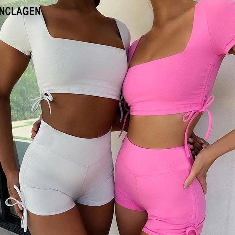 de manga corta-2020 Yoga Escuadra mujeres del collar Sportwear sin respaldo de gimnasio ropa del entrenamiento de fitness Traje Top corto atractivo equipo del deporte