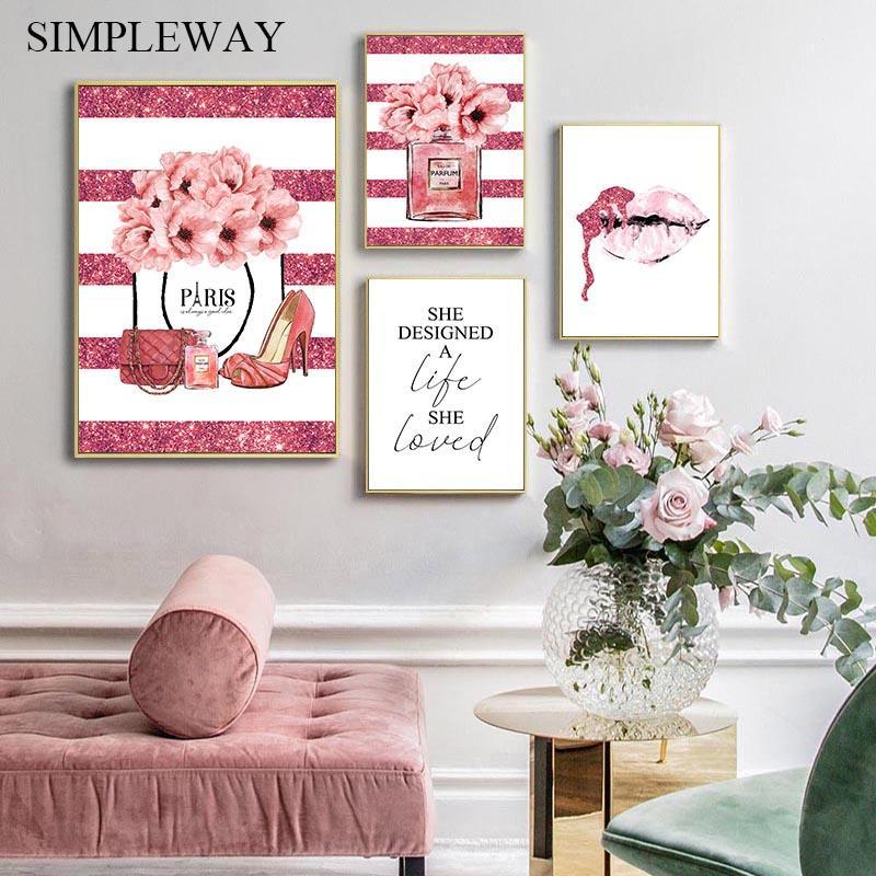 Rosa Blumen-Parfüm-Mode-Plakat Wimper Lippen Make-up-Druck Leinwand-Kunstgemälde-Wand-Bild Modern Girl Room Home Dekoration