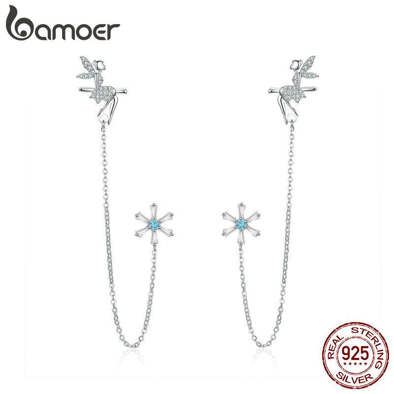 bamoer Fairy Elf Long Chain Clip and Stud Earrings for Women Genuine 925 Sterling Silver Girl Gifts Design Fine Jewelry BSE201 C0927