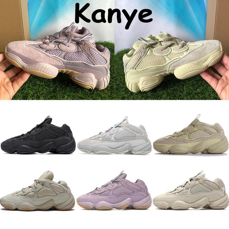 En kaliteli kanye 500 koşu ayakkabıları çöl sıçan yumuşak vizyon allık yarar siyah tuz süper ay sarı kemik beyaz chaussures erkek spor ayakkabı