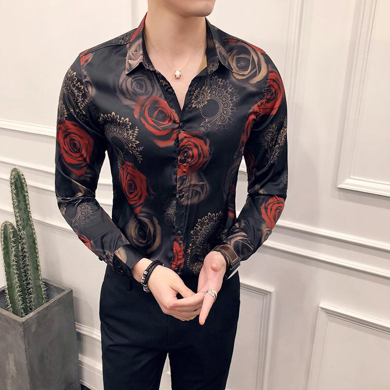 Rose Print Shirt Men 2020 New Fashion Designer Pattern Floral Shirt Men Long Sleeve Slim Party Clube Camisa Men's Clothing