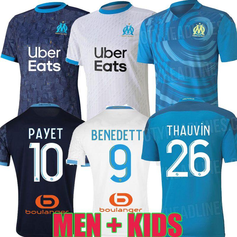 20 21 Olympique de Marseille maillots de football om 2020 2021 Maillot de pied PAYET THAUVIN BENEDETTO HOMMES ENFANTS LOIN enfants TIERS maillots de football