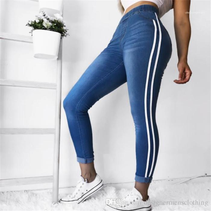 Bolso listrado Plus Size longas Jeans Chegada Nova 5XL Mulheres Skinny Jeans Calças Mid cintura lápis