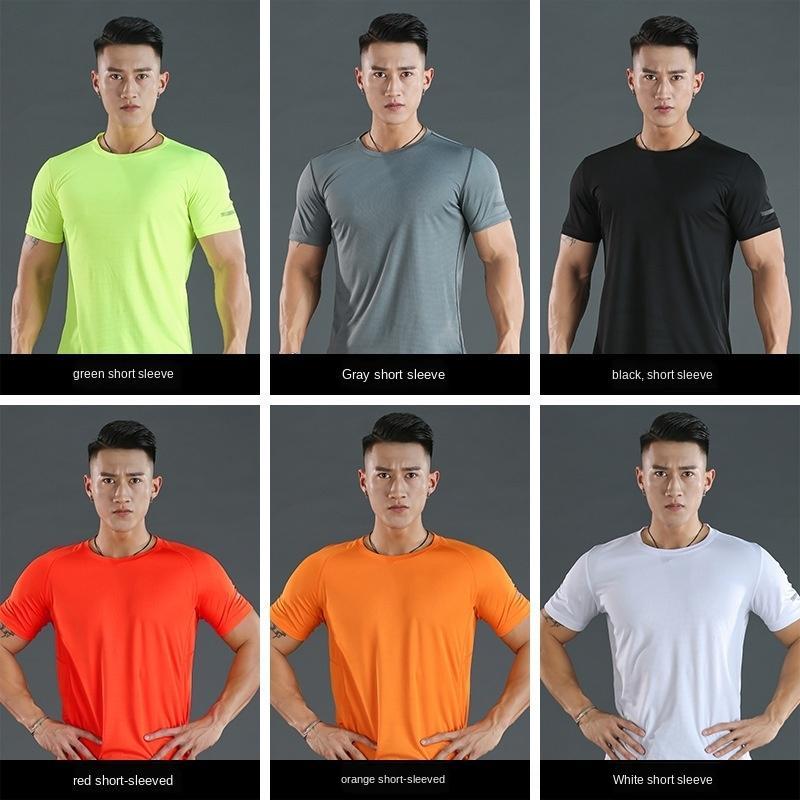 roupas masculinas de secagem rápida Esportes que funcionam T-shirt de alta elasticidade da aptidão manga PRO curto collants T-shirt collants 4wu1X