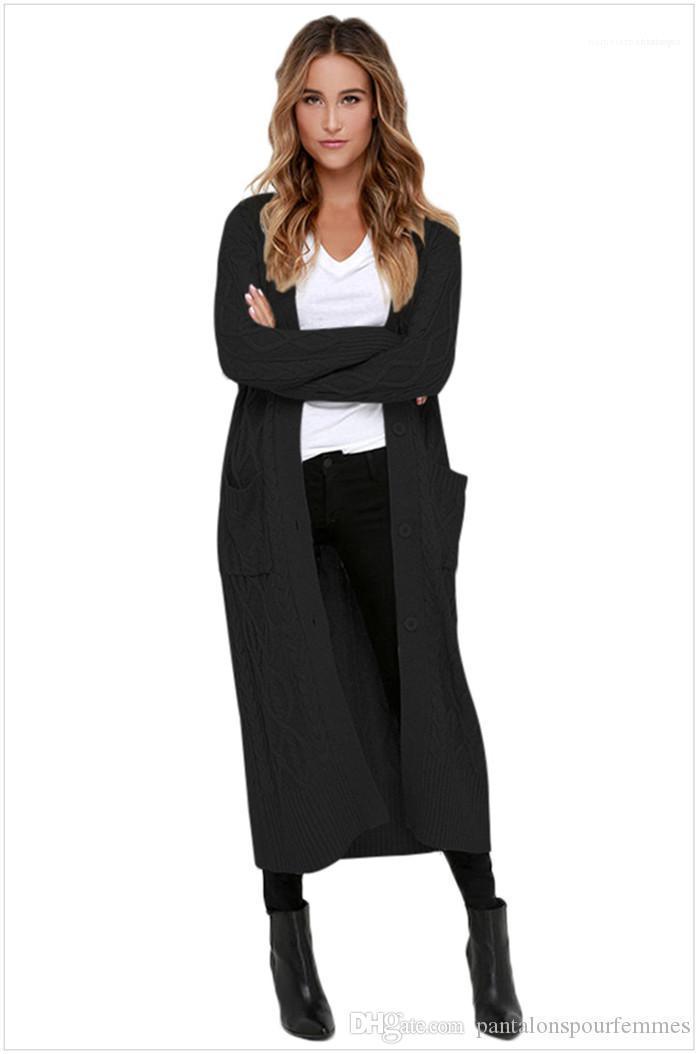 Uzun kollu Triko Moda Örme Sıcak Coat Bayan Moda Katı Renk Uzun Hırka Triko Sonbahar Casual