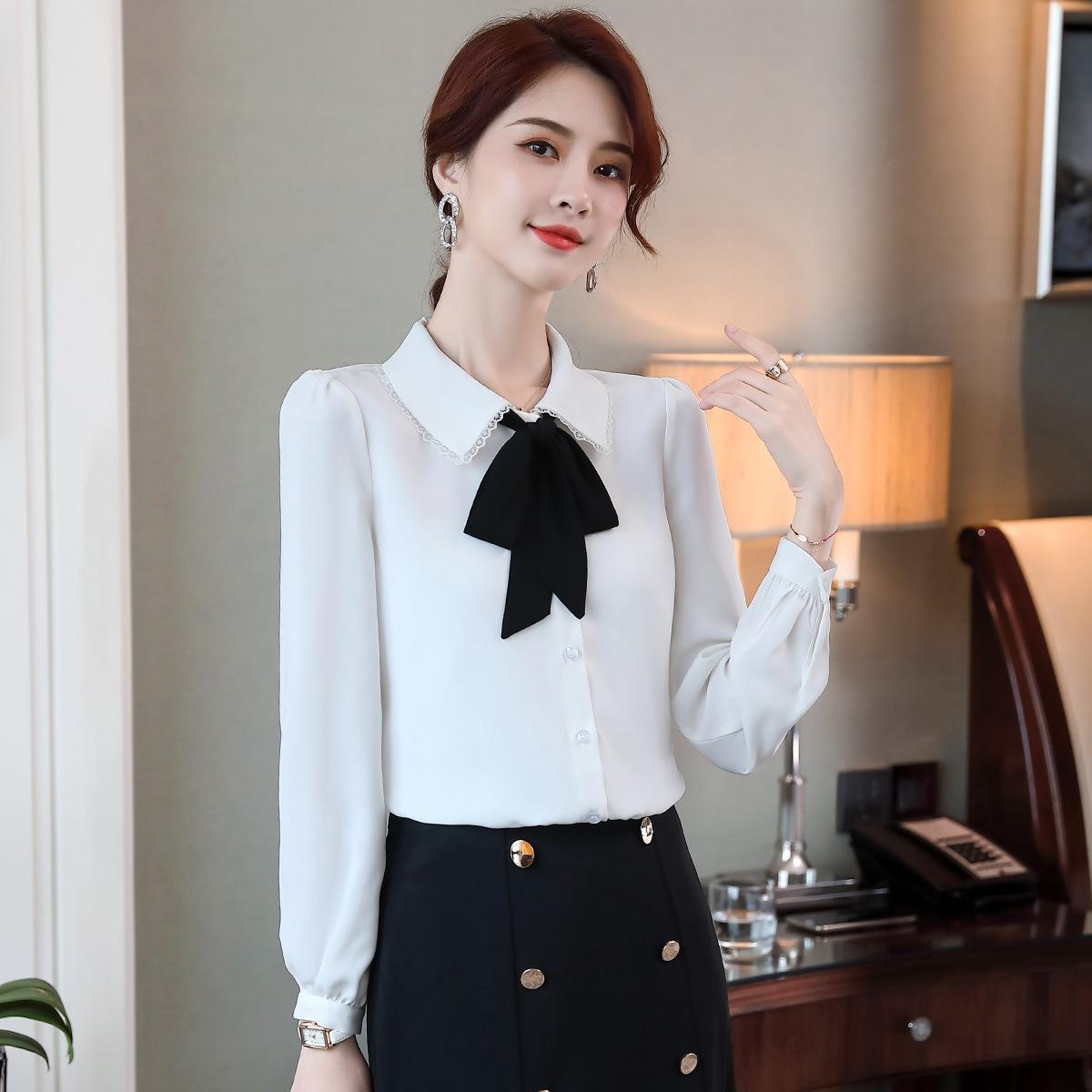 ASyDp unyIH Herbst neuer langärmlige Unterhose Spitze Hemd der Frauen Art und Weise dünne Spitze weißen Kragen professionelle Freizeit Basis Hemd
