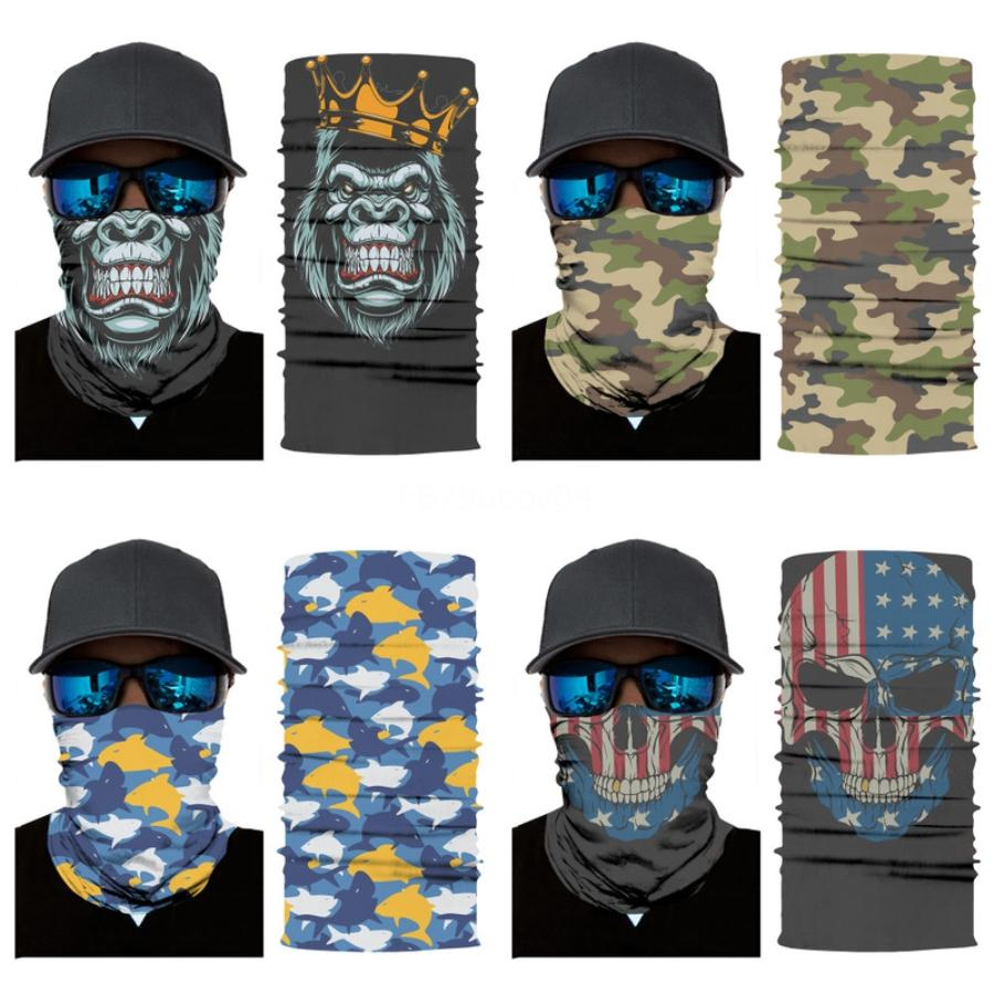 Moda 3D Sihirli Kafa Yüz Kafatası Eşarp bandanas Sorunsuz Bayrak Dijital Sihirli Maskeleri, Hayvan Aslan, Kaplan, Binme Kafatası Atkı P # 87 # 498 Maske