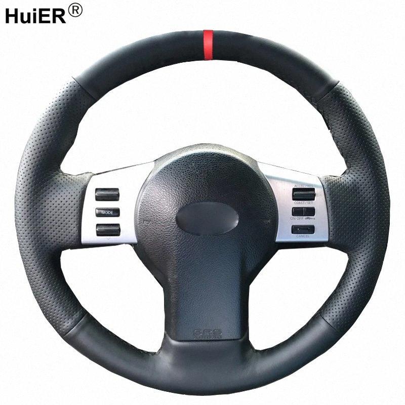 Dirección de coser a mano la rueda de coche cubierta para el Infiniti FX FX35 FX45 2003 2008 Para 350Z 2003 2009 trenza en el manejo de la rueda verde lima Ste jhhZ #