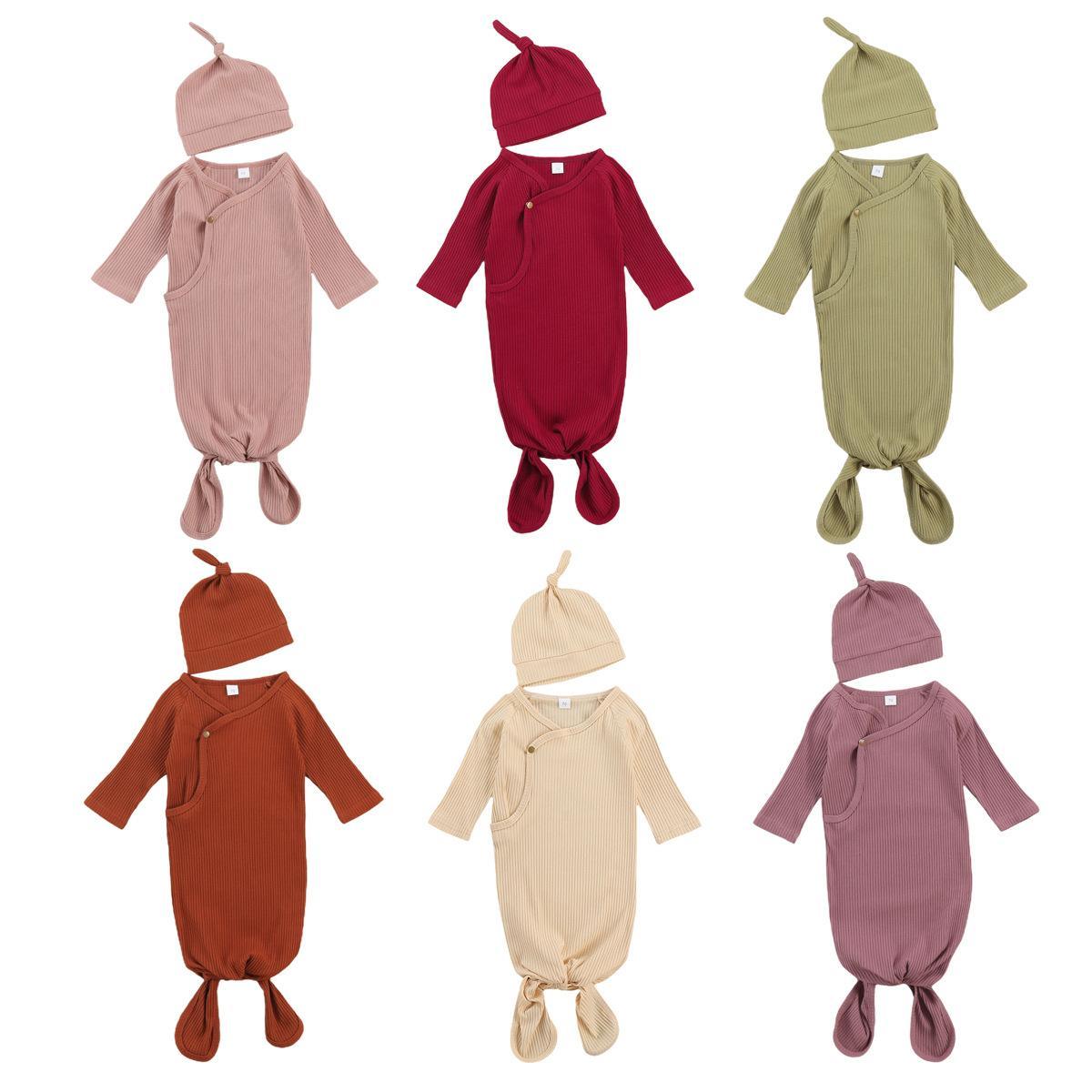Pit infantiles de banda sacos de dormir bebés de los muchachos del color sólido del algodón del niño recién nacido Envolver manta con sombreros 2pcs / set Z1726