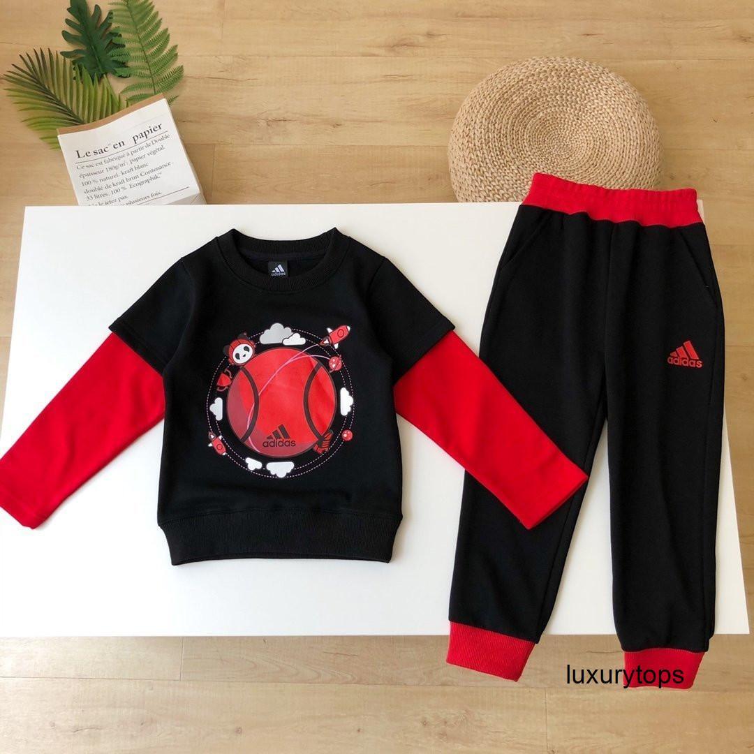 Новый Двухкусочный Детская одежды Корейский стиль высокого качества с длинным рукавом мальчиков девочек осенние комплекты одежды