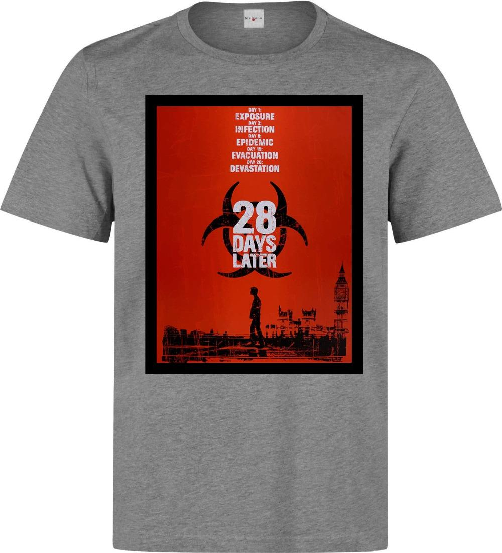 2019 New Fashion Clothing 28 Days Later Movie Poster Artwork Men's (Woman's Available) Grey T Shirt