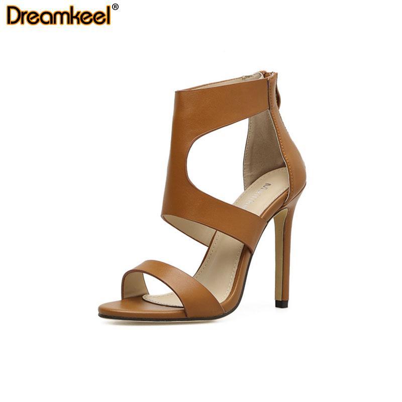 Frauen-Schuh-Absatz-reizvolle geöffneter Zehe-Pumpen Spitz PU-Leder-Sandalen 2020 Sommer-Art- und Dame-Partei-Absatz-Zipper R