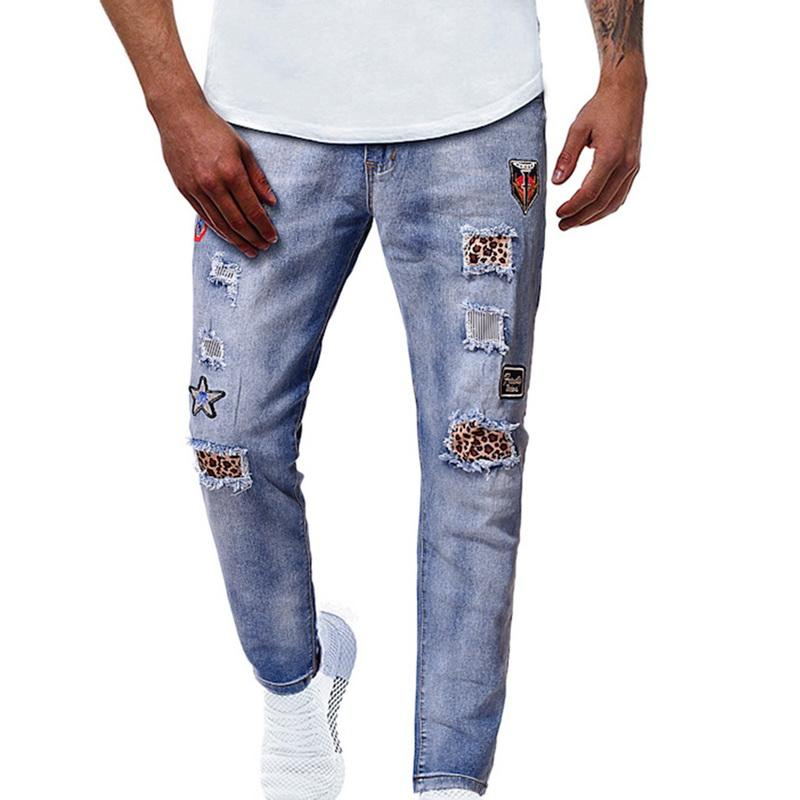2020 Fashion Jeans Hommes Ripped Trou broderie Denim Pantalons simple Streetwear Lavé Distressed Jeans Denim Hombre Hip Hop pantalon