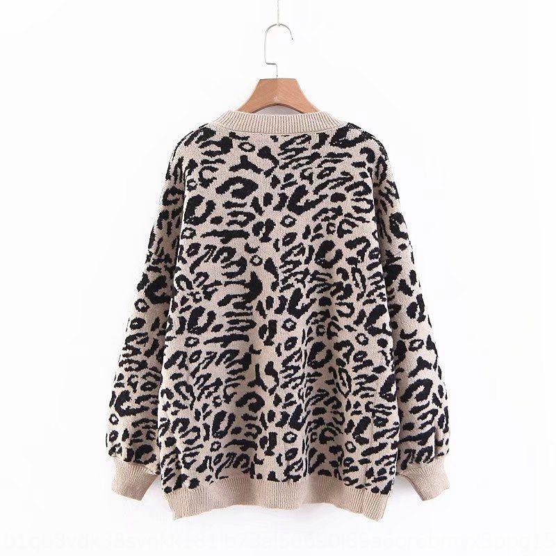 Herbst neue Leoparddrucklaternehülse für Frauen Herbst neuen Pullover Pullover Pullover Leopard drucken Laterne Ärmel Pullover für Frauen 7Rmjf