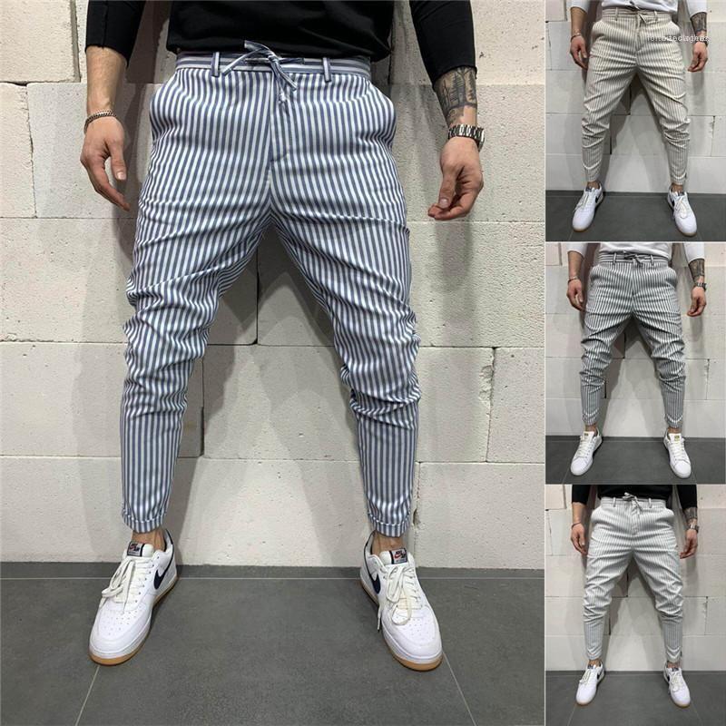 Diseñador de pantalones masculinos para hombre rayas atan para arriba los pantalones ocasionales Nueva ajustado de los pantalones ocasionales del lápiz