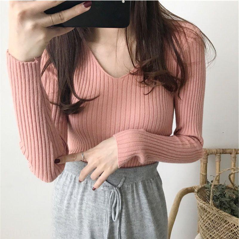 vitsj otoño e invierno desnuda con cuello en V jersey de punto elástico apretado de las mujeres suéter suéter delgado camisa de la base interior top pullover