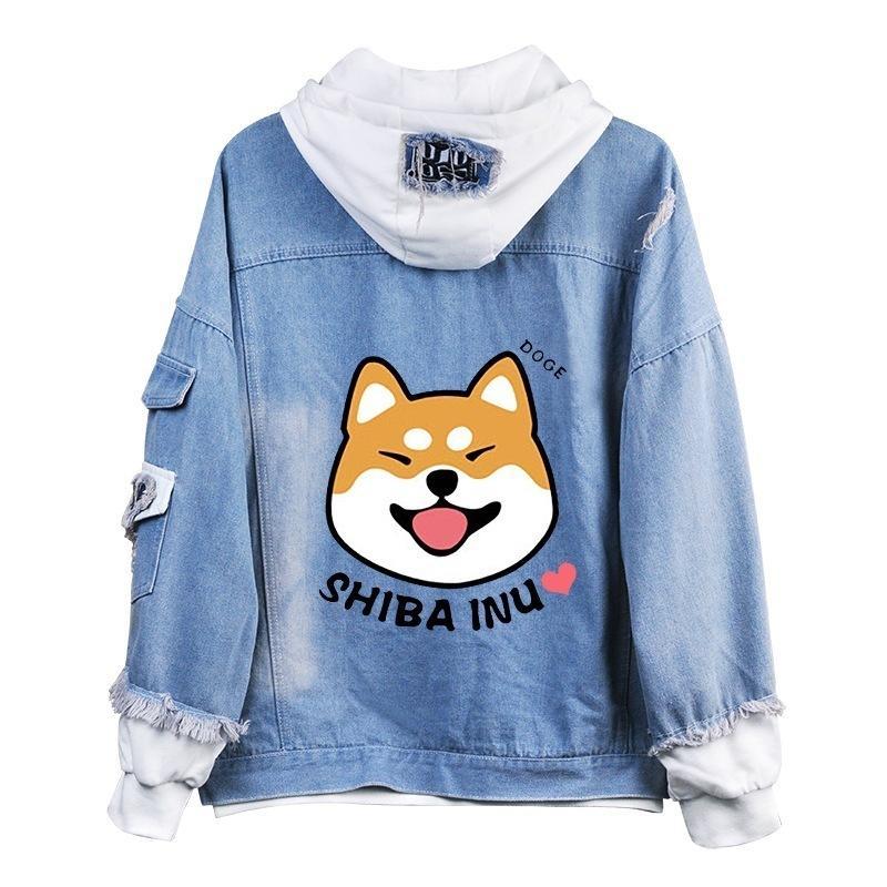 Shiba Inu Kawaii belle velours à manches longues à capuche en peluche manteau printemps automne Doge Anime Cartoon style chaud denim Sweat A9020 MX200812