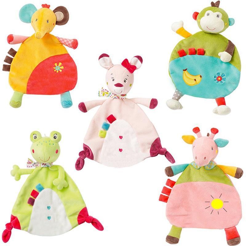 Newborn morbido tovagliolo del fumetto cervi gatto rana scimmia elefante comodità del bambino asciugamano pacificare giocattoli di peluche giocattolo sonaglio il comfort degli animali coperta