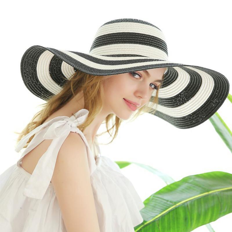 HT3071 Больших широких шляпы Новой мода лето ВС Hat Cap Бич Женщины Vintage Полосатого пляж Ladies Женский Floppy солома