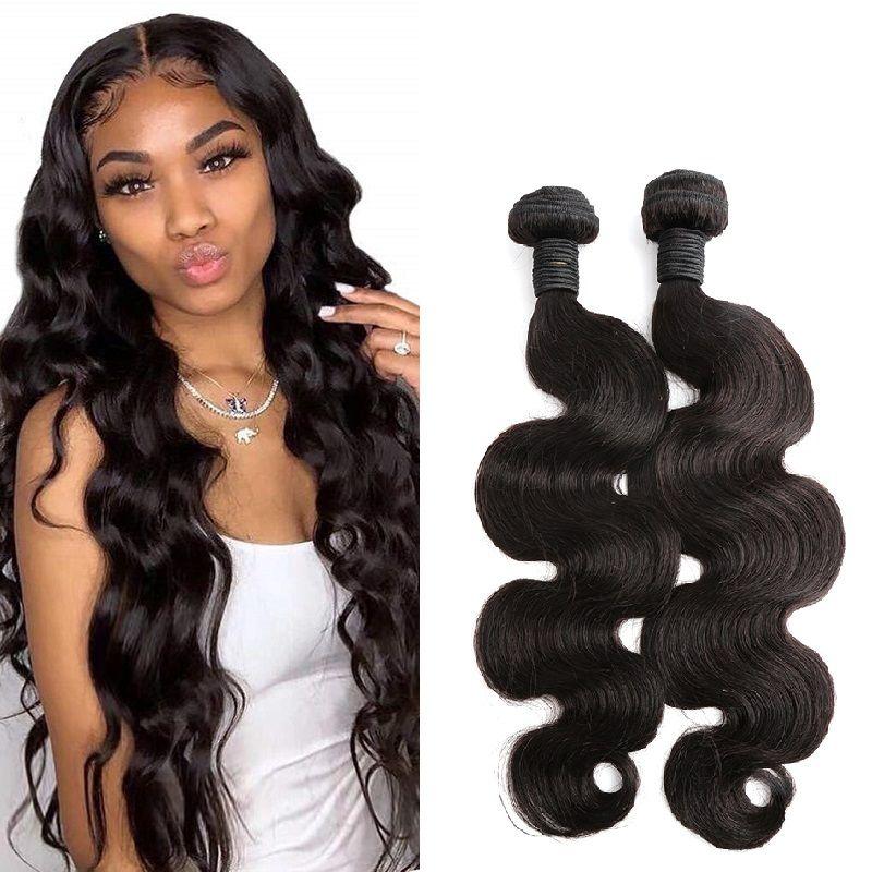 """Goedkope Braziliaanse Haar Weeft Menselijk Hair Extensions 10 """"-34"""" Body Wave Golvende Natuurlijke Kleur 2 stks Haar Weefs Bulk Groothandel"""