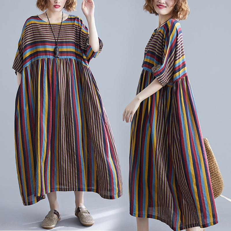 8rGVa cTwsw büyük boy kadın giyim uzun MM200 Jin pamuk ve keten kısa kollu elbise uzun Sanatsal elbise tombul etek 2020 çizgili etek