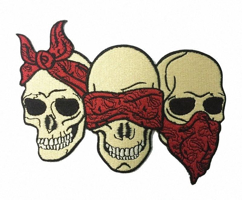 """Nueva llegada de tres cráneo enmascarado Cabeza bordada remiendo del hierro en la ropa Frente concede la chaqueta del jinete Patch 5"""" insignia de tela de costura en la bolsa de Patc 4Fx8 #"""