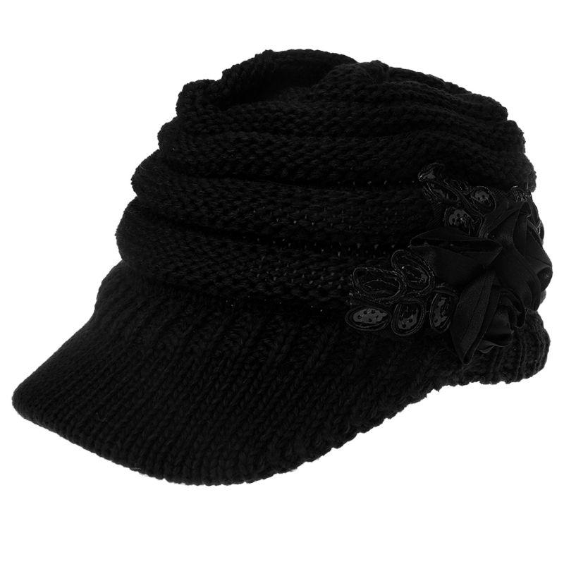 Frauen-Damen Strickmütze Winter-Crochet Peaked Beanie Mütze Hut gestrickte Kappe Grau Mädchen Skullies CAPS Bonnet Femme SnapBack