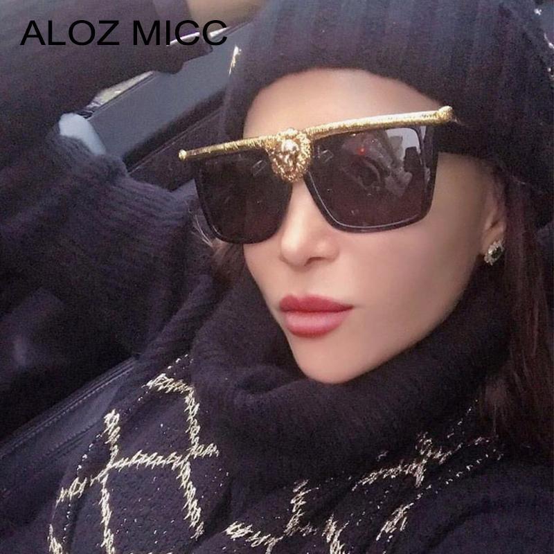 ALOZ MICC Luxo Oversized Lions Cabeça Óculos Mulheres Homens Marca Designer Sexy Cat Eye Sun Óculos Feminino UV400 Óculos Q33