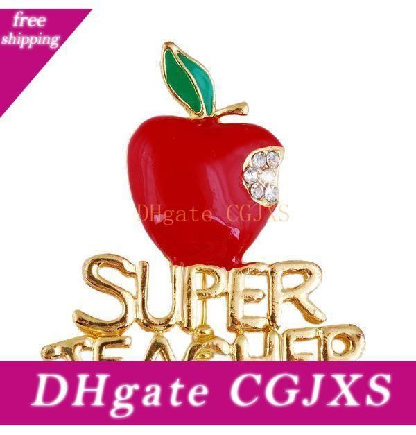 Red Apple Rhinestone Super Teacher Brooch Pins For Christmas Eve Kids Girls Wedding Jewelry Christmas Gifts For Teachers