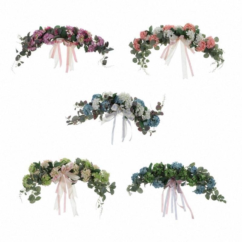 Искусственный цветок гортензии Венок Добычу двери дома стены Свадебный Arch Декор сада окна висячие украшения Венок KLA0 #